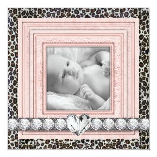 Rosa schwarze Leopard-Baby-Geburts-Mitteilungen Quadratische 13,3 Cm Einladungskarte