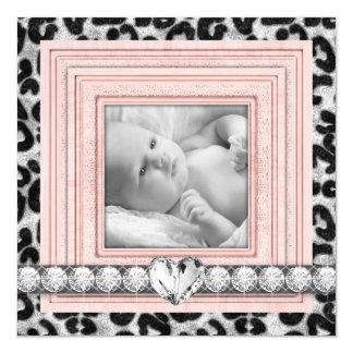 Rosa schwarze Leopard-Baby-Geburts-Mitteilungen Personalisierte Einladungskarte