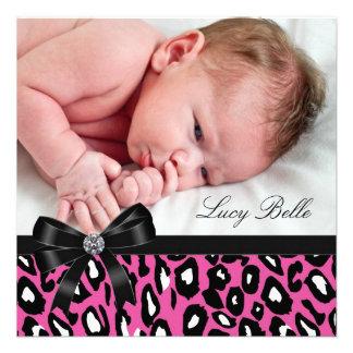 Rosa schwarze Leopard-Baby-Mädchen-Foto-Geburt Einladungskarte