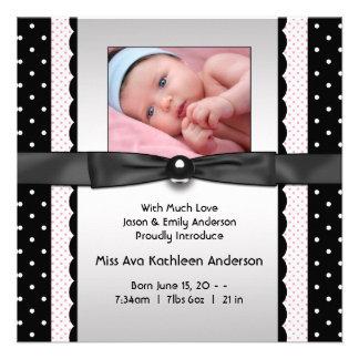 Rosa schwarze Polka-Punkt-Mädchen-Foto-Geburts-Mit Einladungskarte