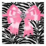 Rosa schwarze rosa Zebra-Party Individuelle Ankündigskarten