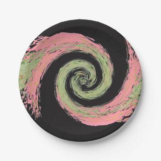 Rosa, schwarze und grüne abstrakte wirbelnde pappteller