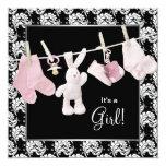 Rosa schwarze Wäscheleine-Baby-Dusche Individuelle Einladungen