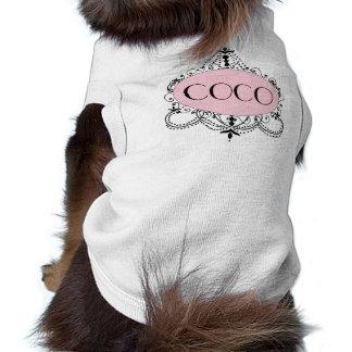Rosa schwarzer Chic-Leuchter-personalisierter Ärmelfreies Hunde-Shirt