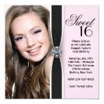 Rosa schwarzer Foto-Bonbon 16 Geburtstags-Party Quadratische 13,3 Cm Einladungskarte