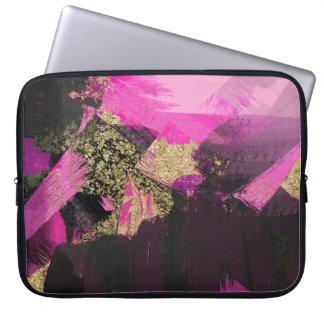 Rosa schwarzer GoldGlitzer-moderner Laptopschutzhülle