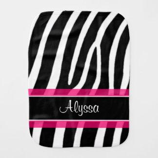 Rosa schwarzer Zebra-Druckpersonalisierter Spucktuch
