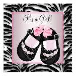 Rosa Schwarzes beschuht rosa Zebra-Babyparty Einladungskarte