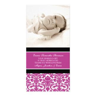 Rosa Schwarzes danken Ihnen Baby-Duschen-Foto-Kart Fotokartenvorlagen