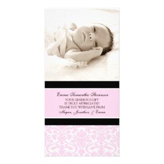 Rosa Schwarzes danken Ihnen Baby-Duschen-Foto-Kart Individuelle Foto Karten