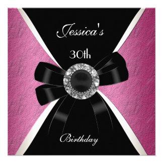 Rosa schwarzes Einladungs-Weiß-30 Geburtstag 2