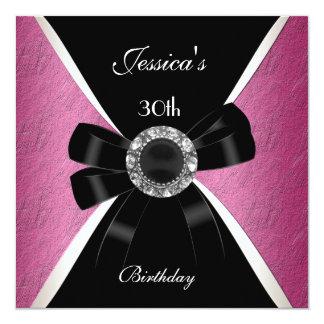 Rosa schwarzes Einladungs-Weiß-30. Geburtstag 2 Personalisierte Einladungskarte