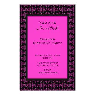 Rosa schwarzes Muster-Party 14 X 21,6 Cm Flyer