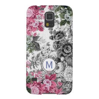Rosa schwarzes u. weißes Blumengarten-Monogramm Samsung S5 Cover