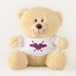 Rosa schwarzes Valentinsgruß-Herz u. Teddybär
