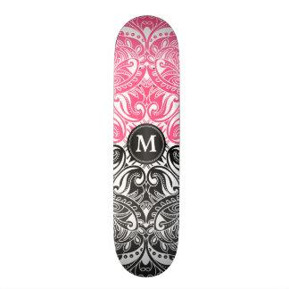 Rosa, Schwarzweiss-Mandala - Monogramm 19,7 Cm Skateboard Deck