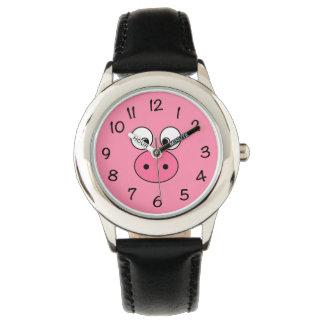 Rosa Schwein-Gesicht Armbanduhr