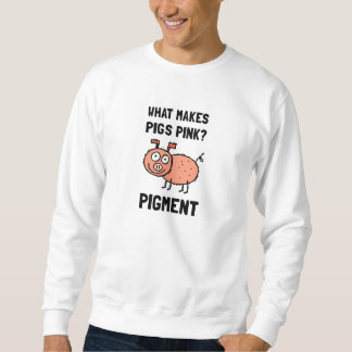 Rosa Schwein-Pigment-Cartoon-Witz Sweatshirt