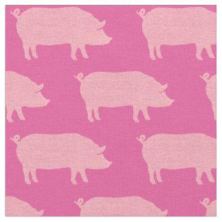 Rosa Schwein-Silhouette-Muster Stoff
