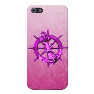 Rosa Seeschiffe Rad und Anker iPhone 5 Etui