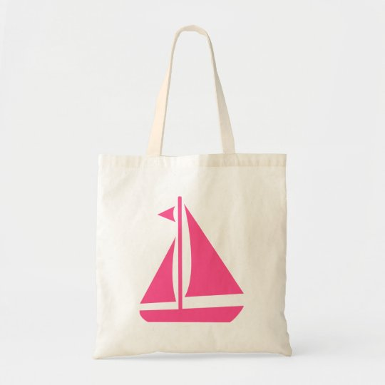 Rosa Segelboot-Strand-Ozean-nautischboot Budget Stoffbeutel