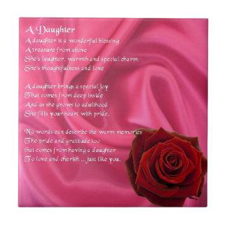 Rosa Seide u. Rose - Tochtergedichtfliese Fliese