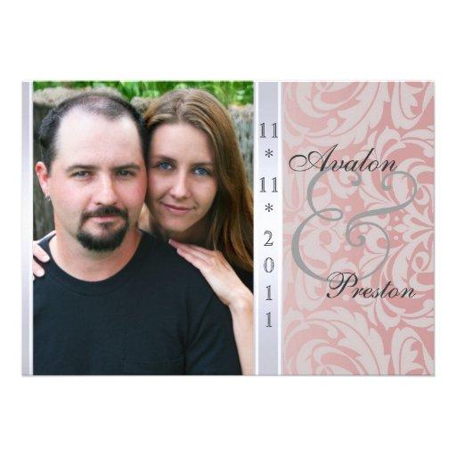Rosa Seitendamast-Foto-Hochzeits-Einladung