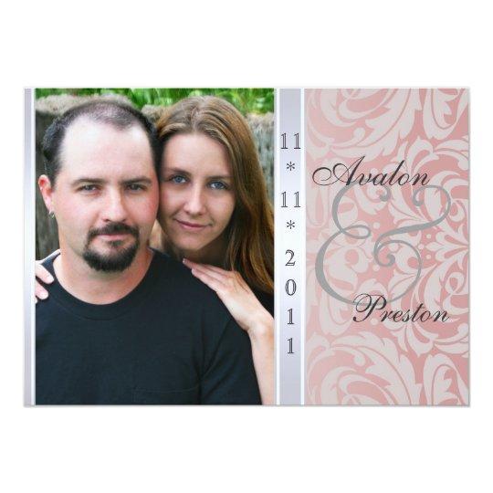 Rosa Seitendamast-Foto-Hochzeits-Einladung 12,7 X 17,8 Cm Einladungskarte