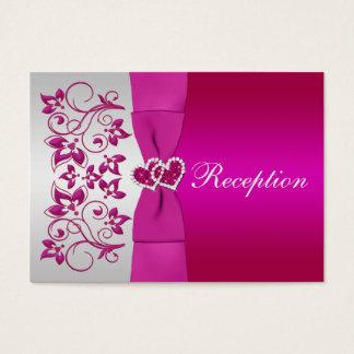 Rosa, Silber-Blumenhochzeits-Empfangs-Karte Visitenkarte