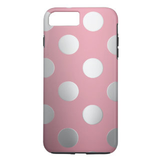 Rosa, silberne Tupfen iPhone 8 Plus/7 Plus Hülle