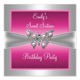 Rosa silberner Schmetterlings-Geburtstag 4 16. Personalisierte Einladungen