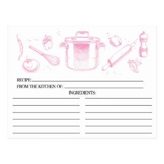 Rosa skizzierte Küchen-Werkzeug-Rezept-Karten Postkarte