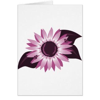 Rosa Sonnenblume mit Marienkäfern Karte
