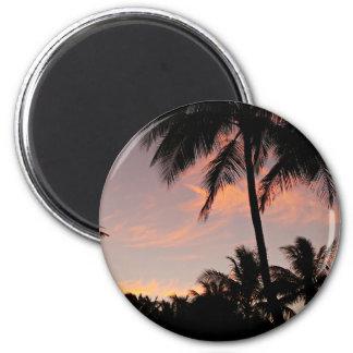 Rosa Sonnenuntergang Hawaiis Runder Magnet 5,7 Cm