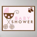 Rosa Spaziergänger-Babyparty-Zeichen Posterdruck