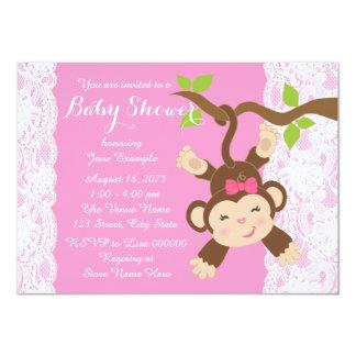 Rosa Spitze-Affe-Baby-Dusche 11,4 X 15,9 Cm Einladungskarte