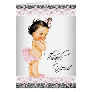 Rosa Spitze-Mädchen-Babyparty danken Ihnen Mitteilungskarte