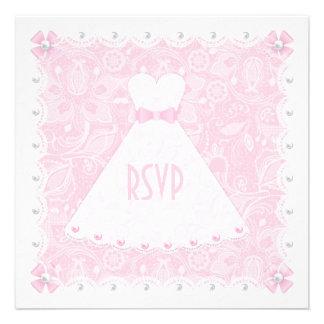 Rosa Spitze u weiße Perlen-Brautdusche UAWG Individuelle Ankündigungen