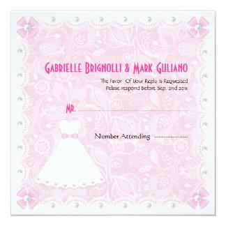 Rosa Spitze u. weiße Perlen-Brautdusche UAWG Quadratische 13,3 Cm Einladungskarte