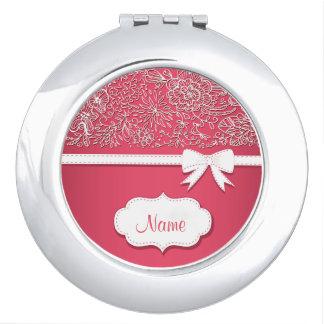 Rosa Spitze-und Bogen-personalisierter kompakter Taschenspiegel