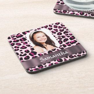 Rosa spotty Leoparddruck-Fotoschablone Getränkeuntersetzer