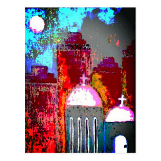 Rosa Stadt-Kirche Postkarte