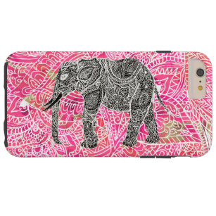 Rosa Stammes- Paisley-Elefant-Hennastrauch-Muster Tough iPhone 6 Plus Hülle
