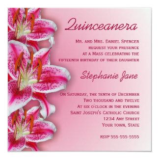 Rosa Stargazer Quinceanera Einladung