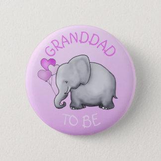Rosa steigt Elefanten im Ballon auf, den Babyparty Runder Button 5,1 Cm