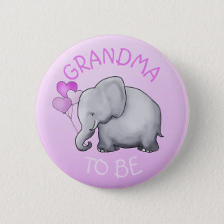 Rosa steigt Elefanten im Ballon auf, den Babyparty Runder Button 5,7 Cm