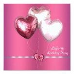 Rosa steigt Mädchen-4. Geburtstags-Party im Ballon Personalisierte Ankündigungskarte