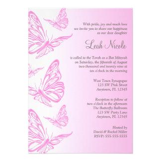 Rosa Steigungs-Schmetterlings-Schläger Mitzvah Einladungskarte