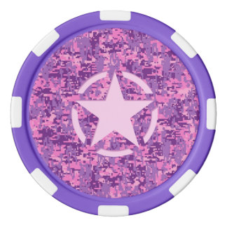 Rosa Stern-Deko auf Digital-Camouflage-Art Pokerchips
