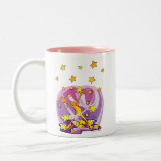 Rosa Stern-Gafferschale mit Zweifarbige Tasse